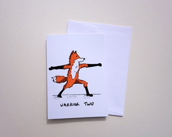 Wild Yoga - Warrior Two - Fox - Single Greeting Card - Hand Illustrated - Envelope Inculded