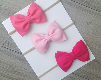 3 baby pink hair bow, pink fabric bow, light pink bow, dark pink bow, coral fabric bow, nylon headband, spring bows,