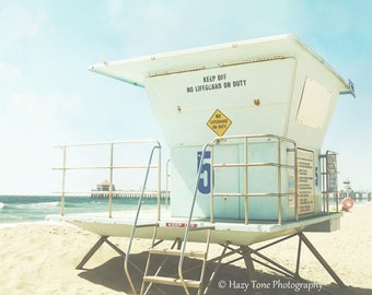 Beach Wall Decor, Huntington Beach Photography Print, Lifeguard Stand Tower, California Wall Art, Summer Beach Scene, Bedroom Wall Decor,