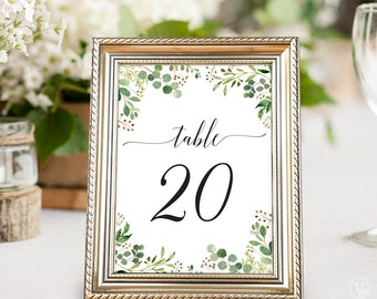 Printable Wedding Table Numbers 1–40, Rustic Greenery Wedding Table Numbers, INSTANT DOWNLOAD, 5x7 and 4x6 sizes, Meadow