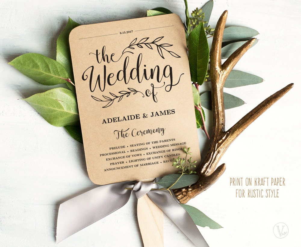 Printable Wedding Program Template Rustic Fan