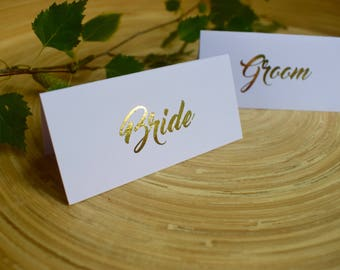 Gold foiled Personalised White Place Cards | Wedding, Christening, Baptism or Birthday Celebration