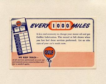 Gulf Oil Company Advertising UX27 US Postal Card Gulflex Service Gulfpride Lubrication Reminder Card Next Service Unused Safety ~ 8201P