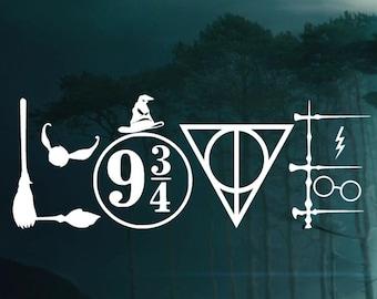 Harry Potter LOVE Symbols Decal -  Car decal Window Sticker - Laptop Sticker Decal