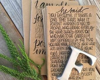 Velvetten Rabbit Quote, Journal, Hand Lettered, Personalized, Notebook, Moleskine, Scripture Gift, Prayer Journal