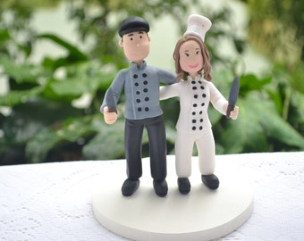 Cute couple - Chef and Cook. Custom wedding cake topper. Wedding figurine. Handmade. Fully customizable. Unique keepsake