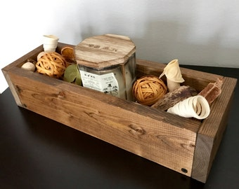 Rustic wood box, Table centerpiece, Candle holder, Home decor, Wedding centerpiece, Gift