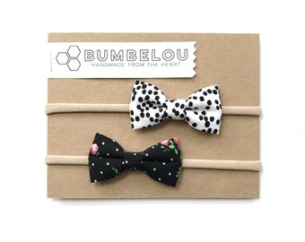 Classic Fabric Bow Set - Black and White Dotty - Headband or Clip