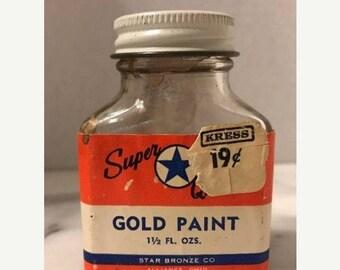 ON SALE Vintage Ink Glass Bottle Gold Stamp Pad Ink 1.5oz Star Bronze Company