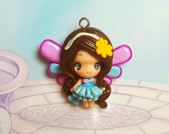 Fairy, Pendant, Necklace, Polymer Clay, Kawaii, Fimo