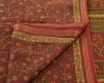 KK Printed Saree Pure Cotton Craft Dark Red Fabric Zari Border Sari