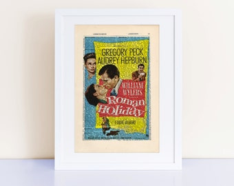 Roman Holiday Print on a vintage encyclopedia page, home decor, wall art, movie poster