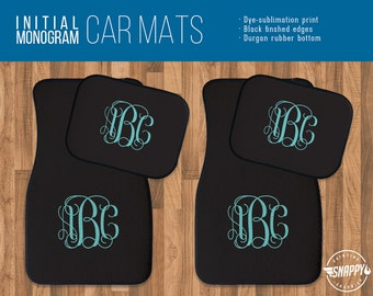 Swirly Initial Monogram - Custom Color Car Mats - Personalized Gift - High Quality - Dye Sublimation Printed