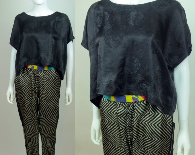 SOLD!! 90s satin silk jacquard chinoiserie Yohji-inspired high low cropped top SHAMAN