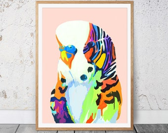 Budgie bird print Wall art Wall Hanging Wall Decor Animal Painting Digital Art