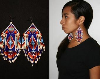Exotic Tribal Earrings, Tribal Statement Earrings, Native American Beaded Earrings, Aztec Geometric Earrings, Tribal Dangle Earrings