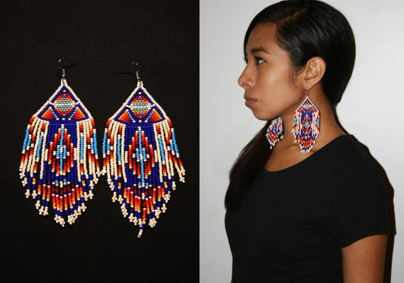 Exotic Tribal Earrings, Tribal Statement Earrings, Native American Beaded Earrings, Aztec Geometric Earrings, Tribal Dangle Earrings