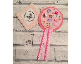 Big sister rosette, big sister gift, big sister badge, sibling gift, new baby gift