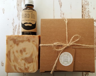 Men's Gift Set, Beard Oil & Bourbon Soap, Gift for Boyfriend, Husband, Dad