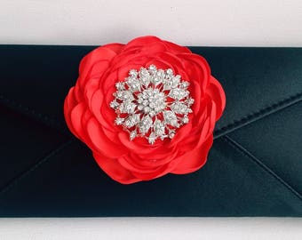 Black and Red  Bridal Clutch with Rhinestone ~ Wedding Clutch, Bridesmaid Clutch ~ Bouquet Clutch- Evening Bag ~ Mother of the Bride, Prom