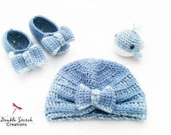 Babyshower Gift Set - Baby Beanie / Baby Mary Jane Slippers / Toy Whale / Trendy Baby Set / Expecting Mother's / Baby Fashion / Baby Gifts /