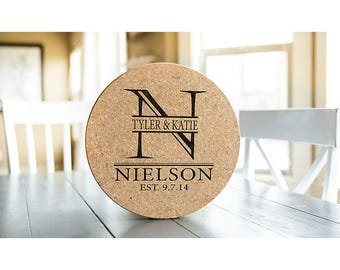 Personalized Jumbo Cork Trivets - 2 Trivets - Nielson Style