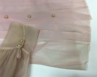 Sheer Mauve Pink Pleated Blouse with Delicate Button