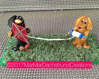 Let's fly the kite! Doxie/Dachshund figurine