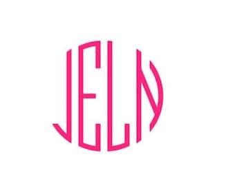 4 Letter Monogram Decal / Monogram sticker / personalized decal / monogram decal / laptop decal / car decal / four letter monogram /