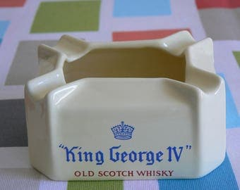 Rarely Seen and Beautifully Crafted Ashtray Advertising King George IV Whisky - by Wade Regicor.