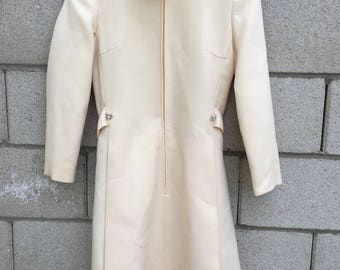 Vintage Womens Ivory Mink Trim Bridal Dress Coat Jacket Bullocks Del Amo