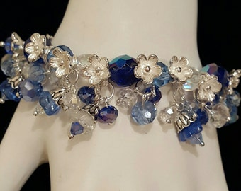 Shades of Blue Cha Cha Bracelet, Free shipping