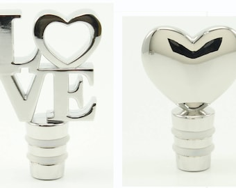 Wine Stoppers Love is here, Romantic Heart  or LOVE wine bottle stoppers for wedding decor table, Celebration gift wine bottle stoppers,
