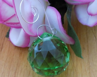 Green Crystal Ball Car Charm, Rearview Mirror, Home Window Ornament, Chandelier Crystal Parts