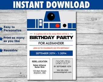 Star Wars R2-D2 Birthday Invitation - DIY File you personalize at home - for children or adult parties - INSTANT DOWNLOAD