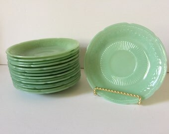 Vintage Jadite FireKing Alice Saucers...Anchor Hocking Jadite Saucers..1950's Kitchenwares...Jadite Green Saucers...