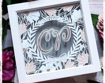 Couples Glitter Initial Wreath - Wedding Gift - First Anniversary - Paper Cut