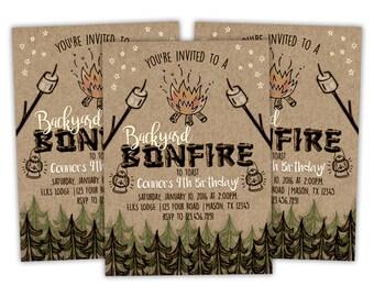 Printable Bonfire Birthday Invitation - Bonfire Invitations - Bonfire Party Invite - Rugged Bonfire Birthday - Camping Party Invitation