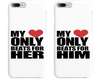 My Heart Only Beats for Her & Him Couple Phone Case Mate - iPhone, Samsung Galaxy Phone Cases for Couples - Matching Phone Case