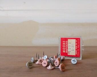 Numbered Map Tacks / Vintage Metal Push Pins / Moore Map Pins