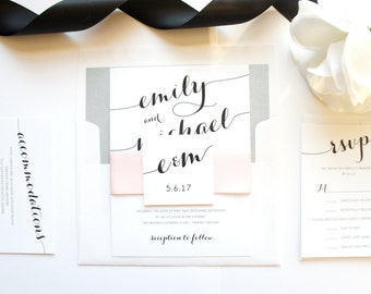 Pink Wedding Invitations, Romantic Wedding Invitation, Pink and Gray Wedding Invitation - Deposit