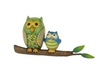 Fairy Garden  - Owls on Branch - Miniature