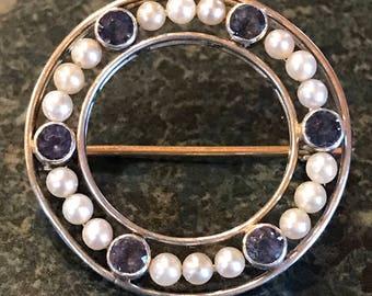 Vintage Circle Pin Platinum,Blue Sapphires, Pearls