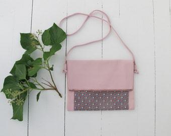 Bag satchel shoulder powder pink calfskin and coated fabric.