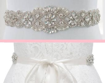 Crystal Bridal Sash, Crystal Wedding Belt, Beaded Sash, Wedding Dress Belt, Beaded Belt, Rhinestone Trim, KATELYN