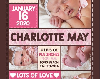 5x7 Charlotte Baby Girl Birth Announcement-Customized