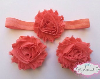 Coral Headband, Coral Barefoot Sandals, Coral Baby Barefoot Sandals, Coral Flower Headband