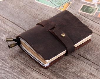 Handmade Travel Notebook - Refillable Leather Journal  - Leather Notebook - Custom Travellers Notebook - Pocket Size Jouornal Notebook