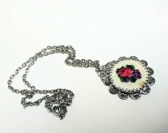 Vintage petit point pendant and necklace