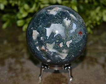 Natual Moss Agate Sphere, 71 MM, Large Moss Agate Sphere, Moss Agate Sphere